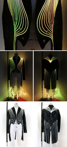Example of Contrast --------- Fiber Optic Coat Instructions Coat Dress, Dress Up, Led Dress, Fiber Optic Dress, Light Up Clothes, Wearable Technology, Fashion Technology, Retro, Wearable Art