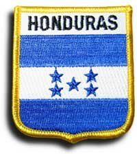 "Honduras - Country Shield Patch by Flagline. $2.75. 2.5"" x 2.75"" Shield Patch. Our shield patches feature each country's flag below the name, and can be sewn on or ironed on. Actual size is approximately 2.5"" x 2.75"".. Save 30%!"