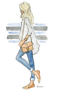 Mode-Illustration-Kunstdruck: Lässig Kicks von AThingCreated