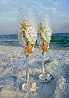 Starfish wedding champagne glasses, decorated with real starfish, sea shells, sea glass and pearls