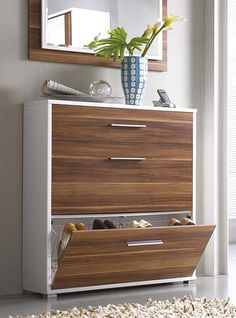 Simple Modern Hallway Storage Idea for Shoes Cabinets - white and walnut combo