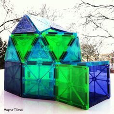 Magna-Tiles igloo! What will you make with squares and triangles?!