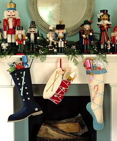 stocking-display: great way to display our collection of nutcrackers :)