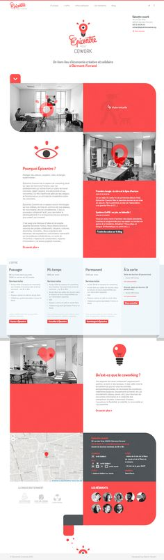 Responsive one pager advertising a co-working office space in Clermont-Ferrand, France.