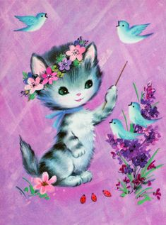 ♥ Vintage card with kitten and bluebirds.