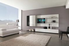 Furniture Decorating Interior. Cool Home Interior Rooms Design Ideas. Minimalist Modern Open Plan Gray Living Room Design Ideas Featuring Wall Mounted Tv Unit With Storage Shelves And Cabinet Console And White Leather Contemporary Sofa And Square Side Table With Chromed Shade Table Lamp Together With Beige Area Rug. Interior Designs For Rooms