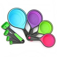 Measuring Cups & Spoon Set - Quality, Functional & Space Saving 8-Piece Collapsible Silicone Cup and Measuring Spoons Set