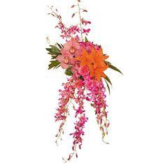 Pink cascading bouquet. Unknown Designer