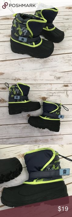 [boys] Black Blue  Print Snow Boots Size 11 Worn for one snow. Black and blue print with neon yellow trim. Has drawstring adjusters on back of boots. Velcro straps on front. Size boys 11. No damage. Look like new. Shoes Rain & Snow Boots