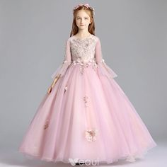 3d9506c2e27 Elegant Blushing Pink Flower Girl Dresses 2019 A-Line   Princess Scoop Neck  Bell sleeves Appliques Lace Rhinestone Pearl Floor-Length   Long Ruffle  Wedding ...