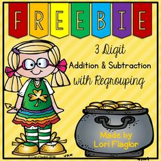 Adorable FREEBIE to practice 3 digit Addition and Subtraction with regrouping. 5 Pages just print and go! Second Grade Math, 4th Grade Math, Grade 3, Math Tutor, Teaching Math, Teaching Ideas, Math Teacher, 3rd Grade Classroom, Math Classroom