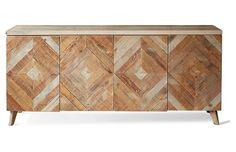 "Garrett 80"" Sideboard - Natural - Brownstone Upholstery"