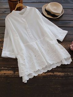 Casual Embroidery Solid Color Stand Collar Women Blouses