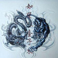 Tiger and Dragon Wallpaper | COOL! DRAGON TIGER FIGHTING CAR MOTORBIKE STICKER DECAL 13CM 001#
