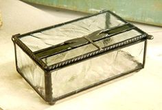 Stained Glass Box with center Dragonfly Medallion