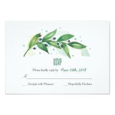 Greenery Wedding Invitations Botanical Wreath Wedding RSVP Card