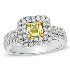 1 CT. T.W. Enhanced Yellow and White Diamond Triple Row Engagement Ring