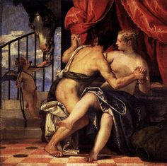 Veronese - Venus and Mars with Cupid and a Horse. An interesting setting for this ancient story- Cupid leads a horse towards the pair of Classical lovers, and the animal eyes them curiously through long eyelashes. The two look as if they are getting caught in the act by the black horse, and surprise is written across their faces.