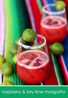 Raspberry and key lime margarita