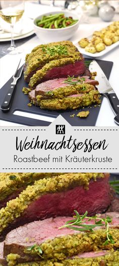 Roast beef with herb crust, nut potatoes and bacon beans .-Roastbeef mit Kräuterkruste, Nusskartoffeln und Speckbohnen – ZWILLING Weihnach… Roast beef with herb crust, nut potatoes and bacon beans – ZWILLING Christmas dinner, main course Healthy Eating Tips, Clean Eating Recipes, Cooking Recipes, Healthy Recipes, Bacon Potato, Cheap Dinners, Budget Dinners, Pasta Dinners, Baked Beans