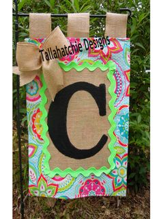 Burlap And Paisley Print Initial Garden by TallahatchieDesigns