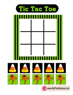 Halloween themed Tic Tac Toe Game Card in Green and Black