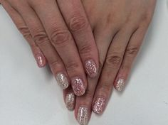 Holographic nail design<pink & silver>