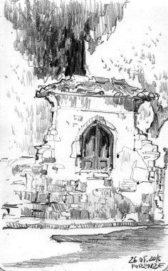 Sketches Archives - Page 2 of 3 - Sketchovnik Landscape Sketch, Landscape Drawings, Pencil Art Drawings, Drawing Sketches, Pablo Picasso Drawings, Cityscape Drawing, Environment Sketch, Dancing Drawings, Building Illustration