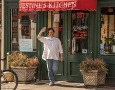 Owner, Dana Strange, in front of Jestine's Kitchen. Charleston, SC