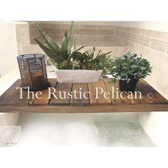 Tray -Rustic Tub Tray -Bathtub Caddy -Bathroom -Vintage ($119) via Polyvore featuring home, bed & bath, bath, bath accessories, rusticpelican, bath tub tray, bath tub caddy, bathtub tray and bathtub caddy