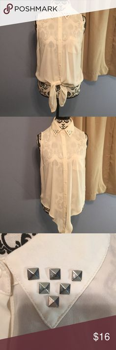 Forever 21 sheer collar tie front blouse - size M Super cute eggshell white sheer collar tie front blouse that looks nice tied and left untied for 2 different styles. Metallic embellishments on the collar and it's Button Down Forever 21 Tops Blouses