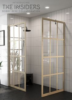 Wood-Grain Gridscape® Shower Doors and Shower Screens Designed By Bobby Berk. The Insiders Collection - Coastal Shower Doors teams up w. Mold In Bathroom, Bathroom Renos, Small Bathrooms, Bathroom Renovations, Bathroom Ideas, Small Shower Remodel, Bath Remodel, Shower Panels, Shower Screens