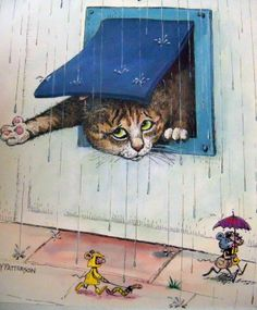 Cat Illustrations, Illustration Art, Funny Cat Memes, Funny Cats, Gary Patterson, Weather Check, Animal Projects, Vintage Cat, Cat Drawing