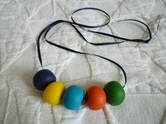 Simple chunky beads made of fimo. Love it.