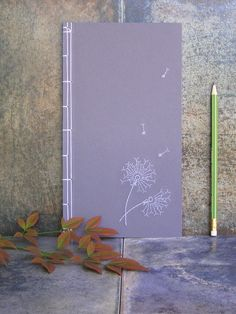 Dandelion Flowers Journal. Hand Embroidered Notebook. Romantic Journal. Nature Notebook. Purple Floral Book. Poetry Journal. Lavender Book