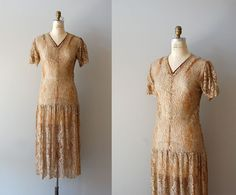 1920s dress / lace 20s dress / Goldspun Lace dress by DearGolden, $475.00