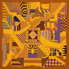 Carré en twill de soie PROMENADE AU FAUBOURG.  Hermes  Silk  Yellow Carré 940466a630c