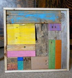 Pallet Wood Wall Art Rustic Hand Painted and Framed 17'' by 17'' by 1'' Handmade #Handmade #RusticPrimitive
