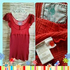 """Free People Lightweight Sweater Tunic Free People ~ Red ~ Lightweight sweater tunic Lots of stretch, upper body 64% cotton 36% nylon, lower body & sleeves 100% cotton. Bust measures 12"""" across flat and 28.5"""" long from shoulder to hem. EUC Very cute! Free People Tops Tunics"""