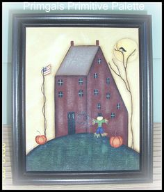 Fall Saltbox House Primitive Hand Painted Canvas