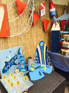 Decorations at a shark birthday party! See more party ideas at CatchMyParty.com!