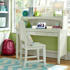My Home Furnishings Neopolitan- Bright White Desk, Hutch And Chair Metal Drawers, Desk With Drawers, Space Furniture, Bedroom Furniture, Bedroom Decor, Home Office, Kids Study Desk, Student Desks, Desk Hutch