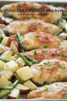 One Pan Baked Parmesan Chicken and Vegetables all cooked together on one baking sheet pan! The best part about this recipe is the cleanup – I love knowing that there is only one dish to clean. Vegetable Recipes, Chicken Recipes, Chicken Meals, Baked Chicken, Recipe Chicken, Garlic Chicken, Turkey Recipes, Pork Recipes, Seafood
