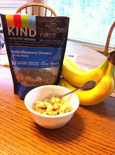 """Breakfast: one mashed banana and 1/3 cup. Let sit to soften """"granola"""" or eat crunchy right away. I'm really having my sweet tooth satisfied with KIND vain ills blueberry clusters. 0 Cholesterol, gluten free, o trans and 0 sat fat, low sugars, fiber"""