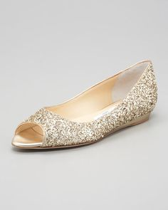 Beck Open-Toe Glitter Flat, Champagne by Jimmy Choo at Neiman Marcus. (Looking for something comp thats not $600)