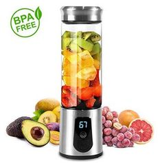 HWZXBCC Portable Blender Smoothie Blender Electric Shaker Bottle 3 in 1 Cordless Mixer USB Rechargeable Personal Blender for Shakes Smoothie and Juice Six Blades LED Displayer High-quality Stai Tools-Gadgets Kitchen Appliances Mixers-Food Processors Blender Smoothie, Fruit Blender, Mini Blender, Portable Blender, Smoothies, Glass Blender, Blender Bottle, Travel Blender, How To Make Drinks
