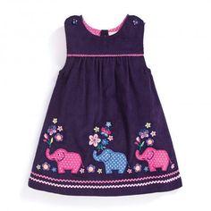 Look at this JoJo Maman Bébé Mulberry Elephant Appliqué Pinafore Dress - Infa. Little Girl Outfits, Cute Outfits For Kids, Little Girl Dresses, Baby Girl Dress Patterns, Baby Girl Dresses, Baby Dress, Toddler Dress, Toddler Outfits, Baby Frocks Designs