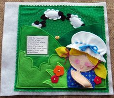 """Meet Little Bo Peep in the cutest quiet book of nursery rhymes. Spin the wheel to make her sheep """"come home,"""" and when they do, flip her hand to show her smile! Diy Quiet Book, Precious Book, Little Bo Peep, Felt Quiet Books, Busy Book, Sewing Basics, Craft Stick Crafts, Nursery Rhymes, Sheep Nursery"""