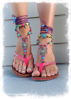 SUNFLOWER Barefoot Sandals Hippie FESTIVAL sandals Fleur de lis Toe Thongs PURPLE and Blue Statement foot wear crochet foot jewelry GPyoga