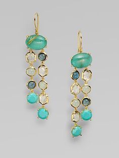 Ippolita 18K Gold Semi-Precious Multi-Stone Drop Earrings